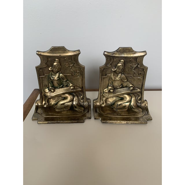 Metal 1920s Antique Chinoiserie Bronze Madrigale Bookends by Pompaian-a Pair For Sale - Image 7 of 7