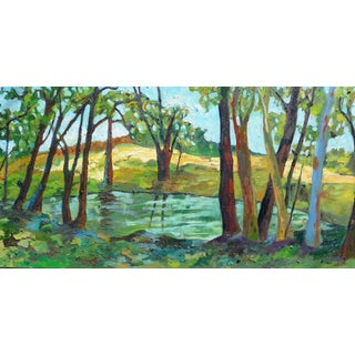 Abstract Painting, French Summer Lake Landscape For Sale