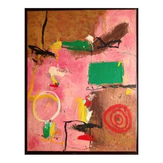 1990s Vintage Original Abstract Painting on Canvas by Gustavo Ramos Rivera For Sale
