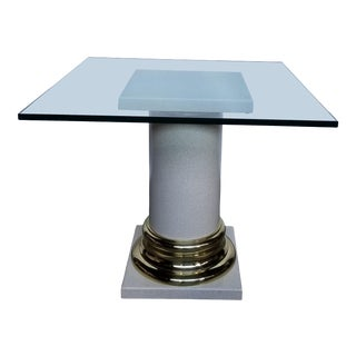 Hollywood Regency Glass Top Column Center Table For Sale