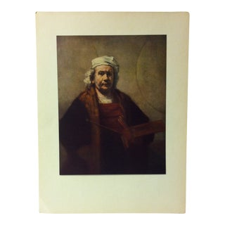 "Mounted Color Print on Paper, ""Self Portrait"" (1663) by Rembrandt - Circa 1950 For Sale"