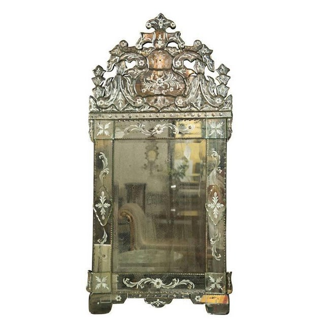 Etching German Distressed Venetian Style Mirror Beautifully Cut Crest W/ Etching Detail For Sale - Image 7 of 7
