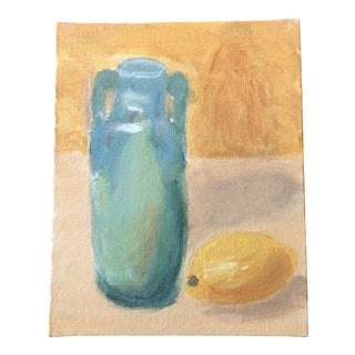 Original Contemporary Still Life Painting Lemon & Turquoise Vase For Sale