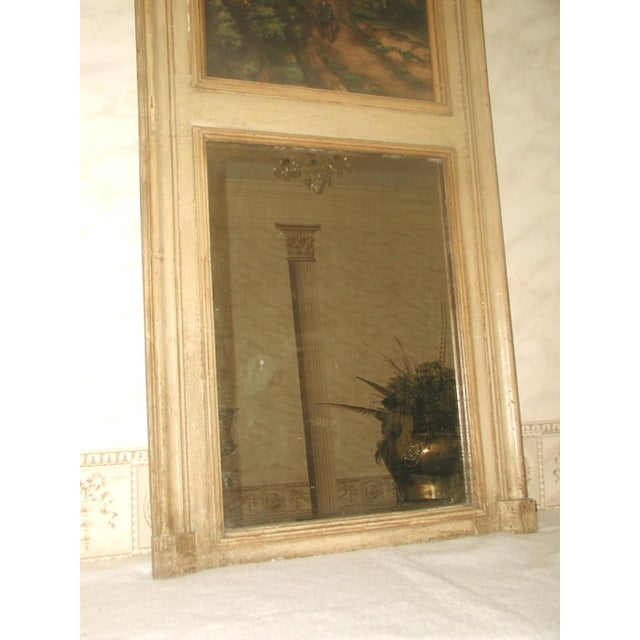 French Trumeau Mirror Canvas Oil Painting, 19th C. - Image 7 of 8