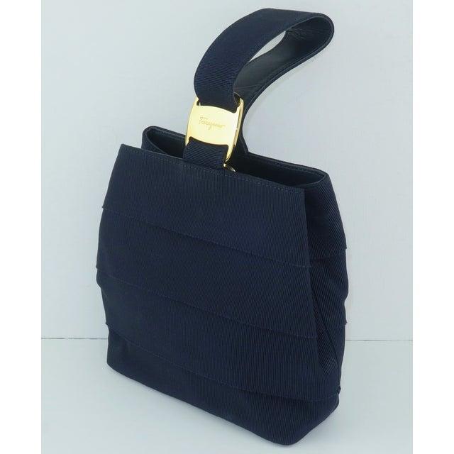 Ferragamo Blue Grosgrain Tiered Wristlet Handbag For Sale - Image 13 of 13