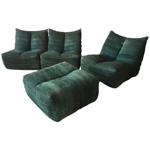 """Modular Green Sectional Sofa """"Giannone"""" by Arch. G.Grignani for 7Salotti, Italy For Sale"""