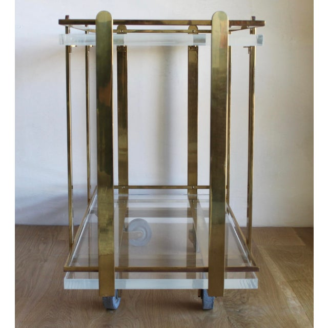 Metal Extremely Rare Karl Springer Custom Ordered Mid Century Modern Heavy Brass and Lucite Bar Serving Cart Table For Sale - Image 7 of 12