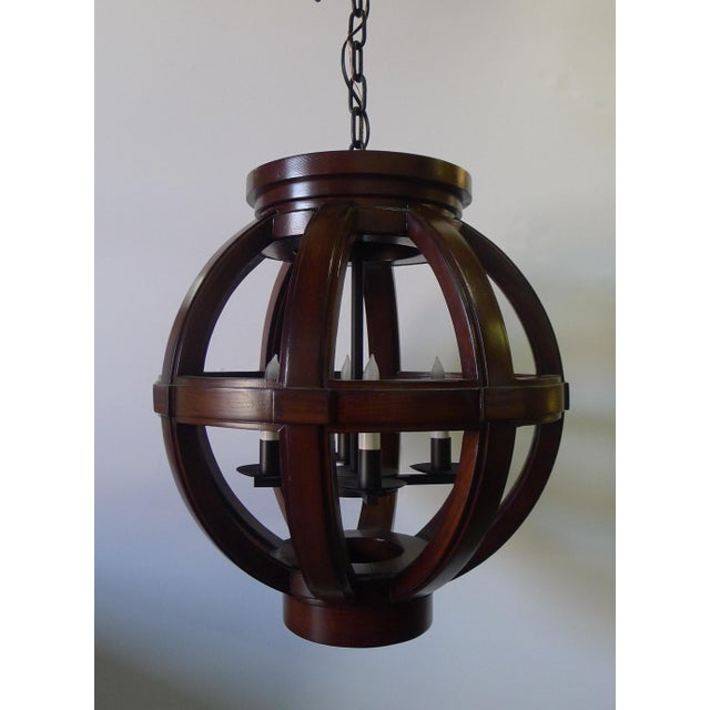 Brown Carved Wood Sphere Chandelier Pendant by Paul Marra For Sale - Image 8 of 8