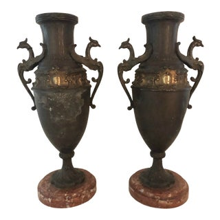 Early 20th C French Spelter and Brass Urns With Marble Bases - a Pair For Sale