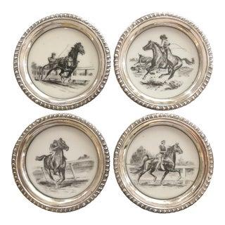 1940s Sam Savitt for Delano Studios Sterling Silver & Porcelain Coasters - Set of 4 For Sale