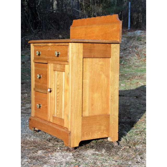 Victorian Antique Victorian Eastlake Oak Small Chest Commode Nightstand Washstand Cabinet For Sale - Image 3 of 13