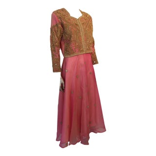 Embroidered Pink and Gold Silk Evening 3 Pc. Gown Vest and Skirt and Shawl For Sale