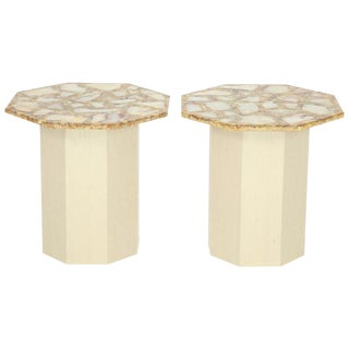 1960s Mid-Century Modern Octagonal Agate Side Tables - a Pair For Sale