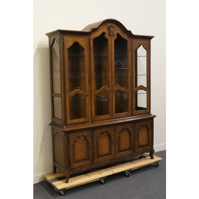"""Mount Airy country french 64"""" lighted breakfront china cabinet. We specialize in high end used furniture that we consider..."""