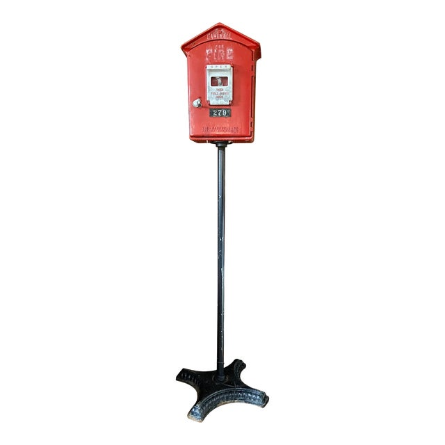 Mid-1900s Red Gamewell Cast Iron Fire Alarm Master Box W/ Western Electric Phone For Sale