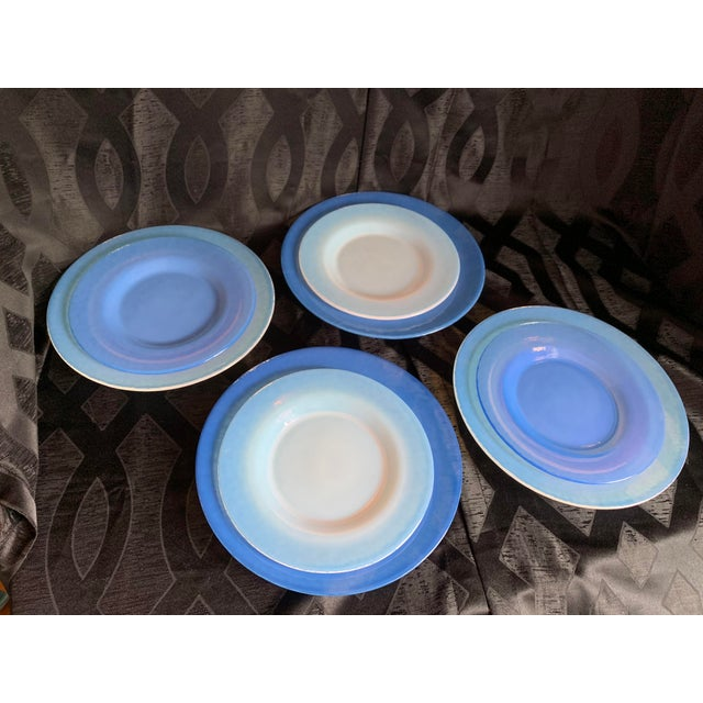 Offered is this heavenly set of opalescent Murano glass plates by Cenedese. This set of hand made plates features two...