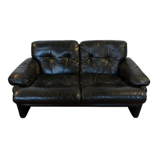 B&b Italia Tobia Scarpa Leather Lovesest Sofa For Sale
