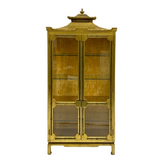 Asian Giltwood, Faux Bamboo, and Pagoda Cabinet With Neo-Classical Styling For Sale