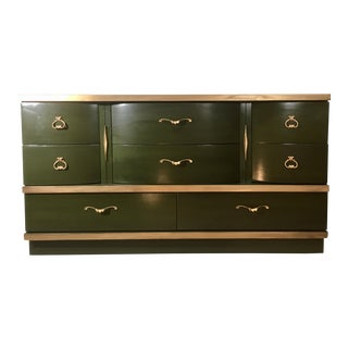 Retro Vintage Green & Gold Mid-Century Style Dresser For Sale