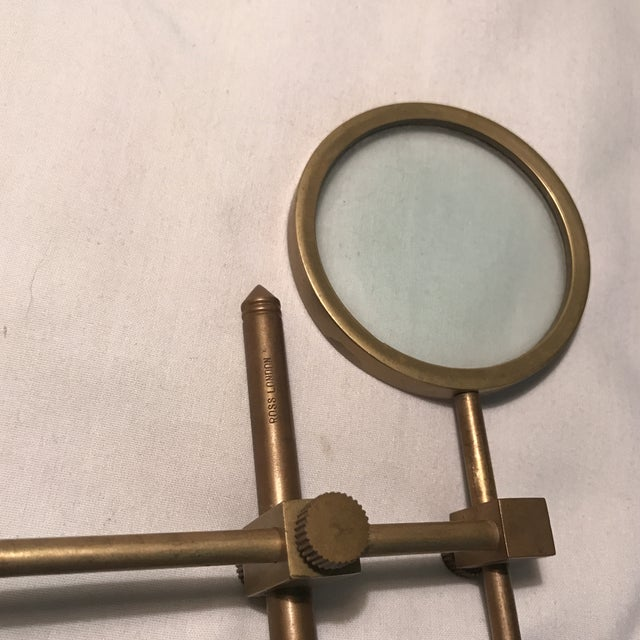 Vintage Magnifying Glass With Adjustable Brass Stand For Sale - Image 10 of 11
