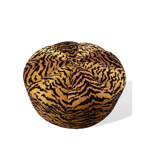 Italian Silky Tiger Woven Heavy Chenille Ottoman For Sale - Image 10 of 10