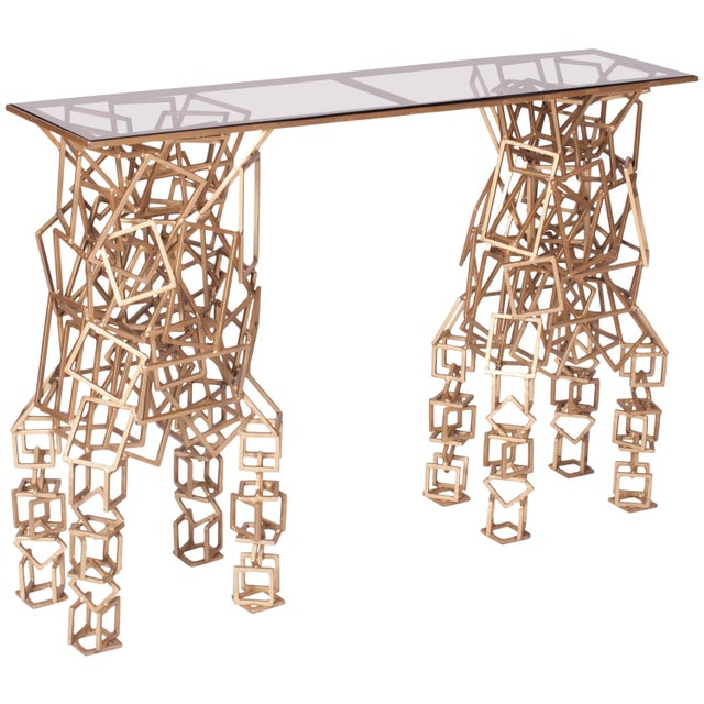 Gold Handcrafted Console Table in Gilded Iron For Sale - Image 8 of 8