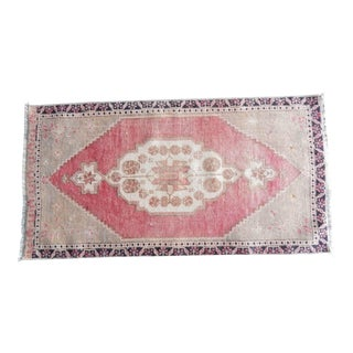 Front of Kitchen Sink Rug Hand Made Bath Mat Faded Mini Rug 1′10″ × 3′7″ For Sale