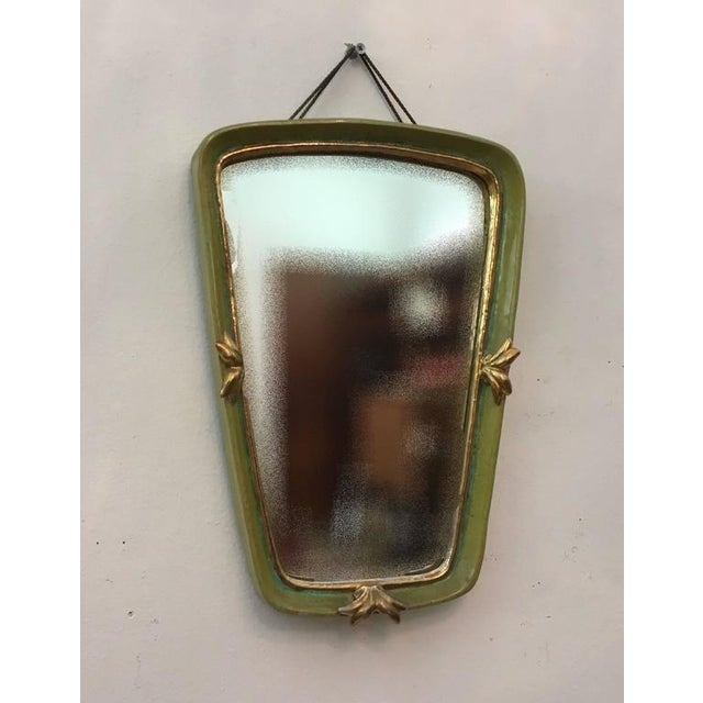 Art Deco Vintage Art Deco ceramic wall mirror by Gmundner Keramik For Sale - Image 3 of 6