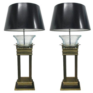Pair of Neoclassical Style Bronze and Glass Column Lamps For Sale