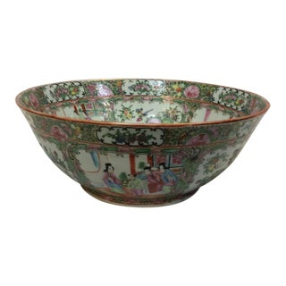 Antique Chinese Rose Medallion Bowl For Sale