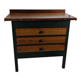 Industrial Era Painted Wood Work Bench/Kitchen Island For Sale