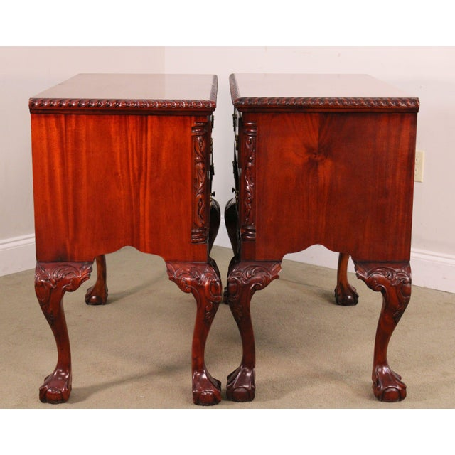Chippendale Style Pair Carved Mahogany Ball & Claw Foot Lowboys For Sale In Philadelphia - Image 6 of 13