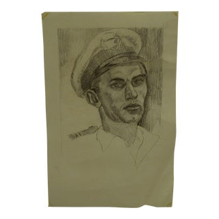 "1950s Figurative Original Drawing/Sketch on Paper ""Pilot"" by Tom Sturges Jr For Sale"
