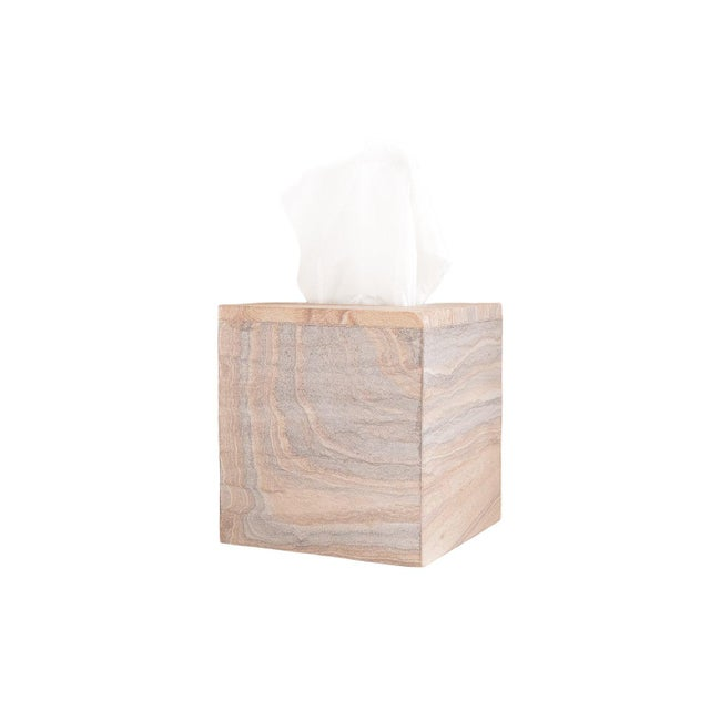 2020s Kenneth Ludwig Chicago Rainbow Sandstone Tissue Box For Sale - Image 5 of 5