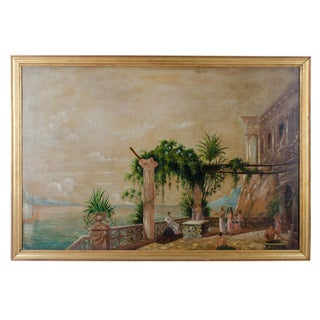 19th Century Classical Greek Scene Painting on Board For Sale