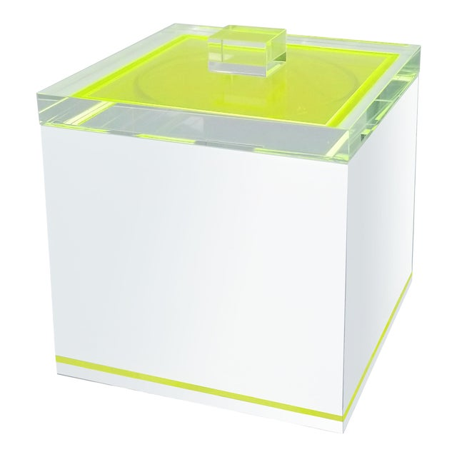 Tinsley Mortimer Fluorescent Neon Yellow and White Lucite Ice Bucket With Lid - Contemporary For Sale