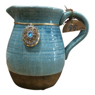 Turquoise Glazed Pottery Vessel For Sale