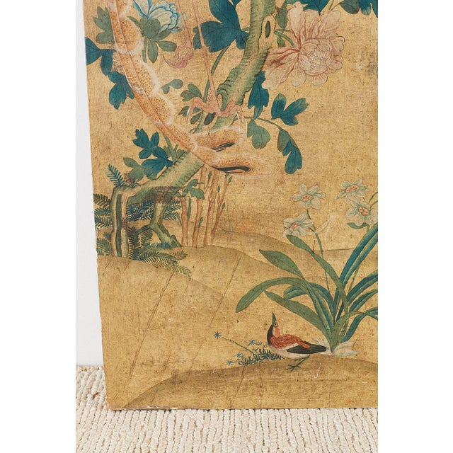 Early 20th Century Continental Painted Chinoiserie Wallpaper Screen With Decoupage For Sale - Image 5 of 13