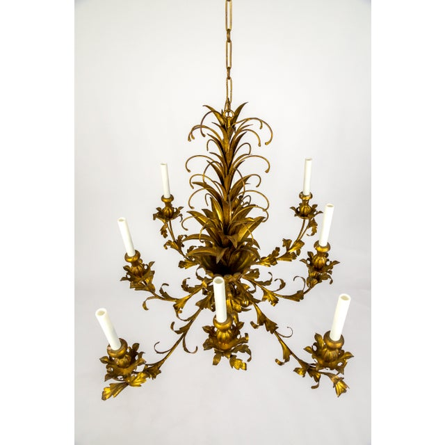 Gilt Palm Leaf Regency Chandeliers (2 Available) For Sale - Image 4 of 13