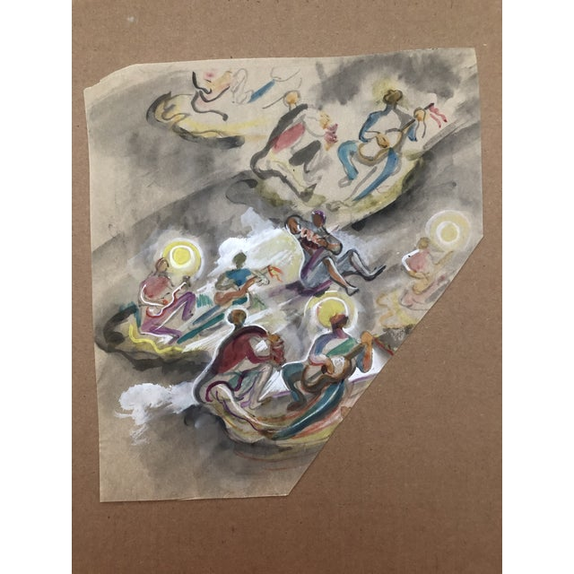 Charles W. Palmer Gouache Musicians Painting, C. 1947 For Sale - Image 4 of 6