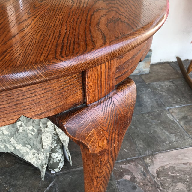 Oak Dining Table With Queen Anne Legs For Sale - Image 5 of 11