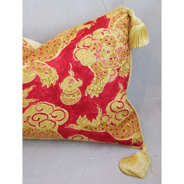 "Chinoiserie Dragon Tasseled Feather/Down Pillows 26"" X 18"" - Pair For Sale In Los Angeles - Image 6 of 13"