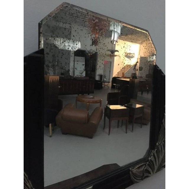 Glass French Art Deco Black Lacquer And White Gold Mirrors A Pair For