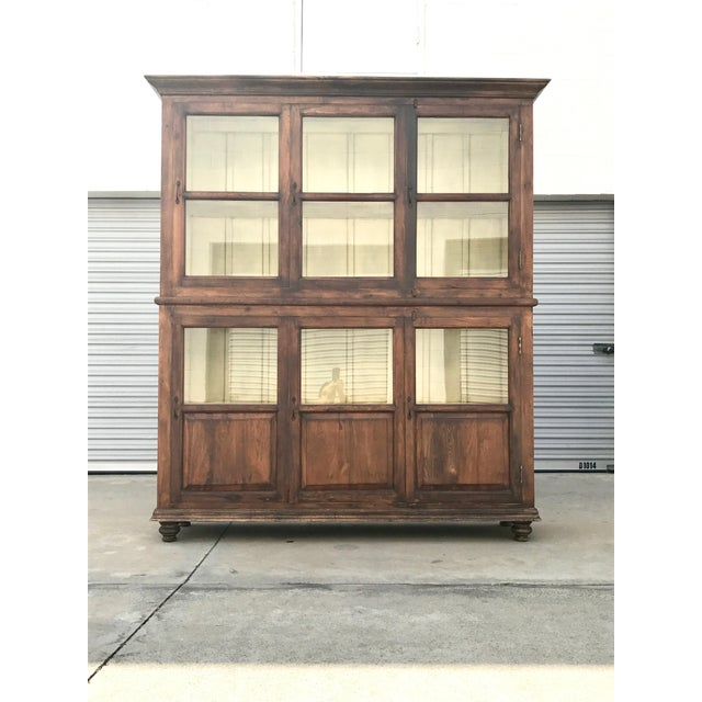 Antiqued Reclaimed Library Wood Vitrine For Sale - Image 11 of 11