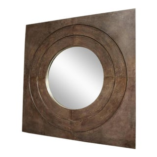 Chic Custom Circle in a Square Parchment Mirror For Sale