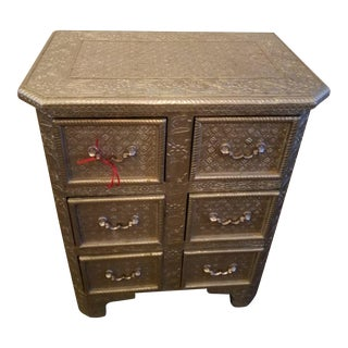 1970s Vintage Silver Metal Embossed Chest of Drawers For Sale