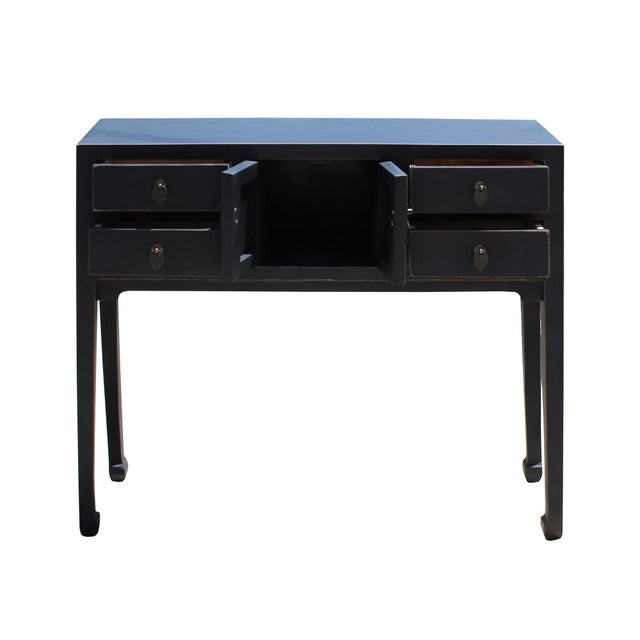 2010s Chinese Oriental Rustic Black Lacquer Drawers Side Table For Sale - Image 5 of 10