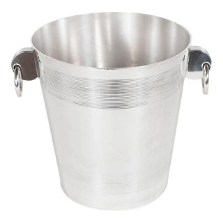 Handsome English Art Deco Silver-Plate Ice Bucket with Stylized Ring Handles For Sale