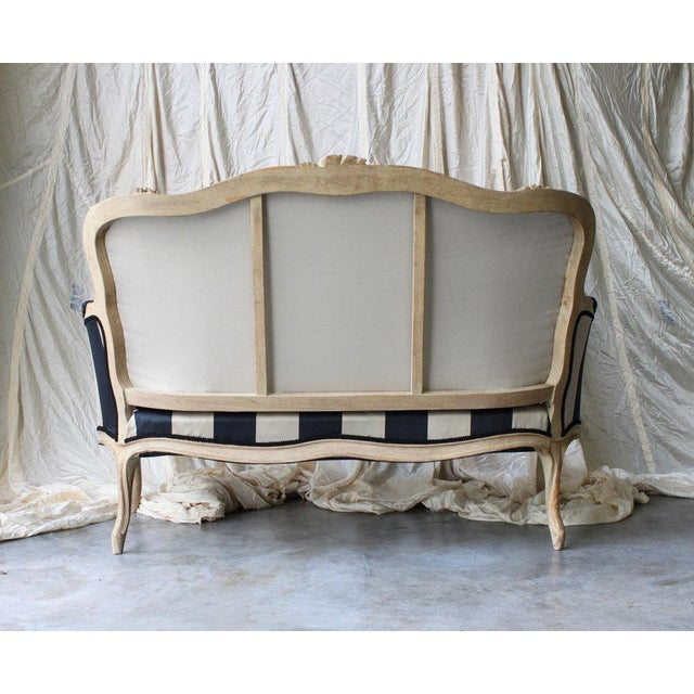Cottage Vintage Louis Reupholstered Settee For Sale - Image 3 of 7