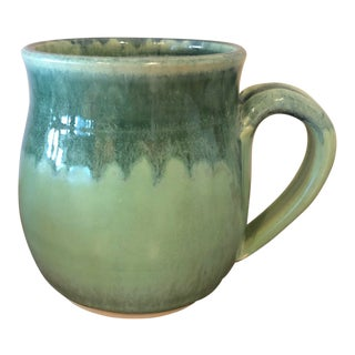 Original Hand Thrown Green Pottery Mug Signed by the Artist For Sale